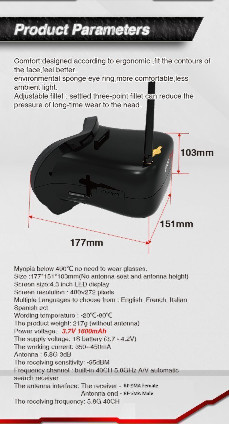 Eachine VR007 PRO FPV Video Goggles w/ 1600mAh Battery